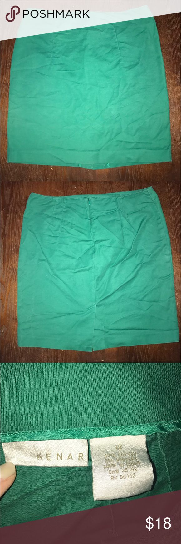 Green Pencil Skirt This skirt if perfect for those summer days at the office! Such a fun color! Comes to about an inch or two above the knee (Im 5'9 for reference) Kenar Skirts Pencil