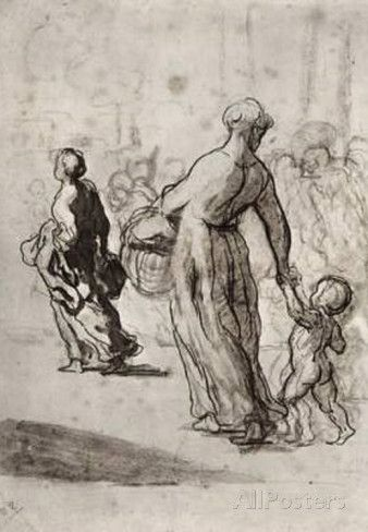 daumier Drawings | Honoré Daumier (The refugees) Art Poster Print Masterprint at ...