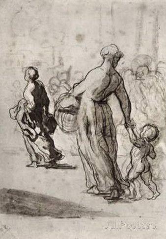 daumier Drawings | Honoré Daumier (The refugees) Art Poster Print Masterprint at ...