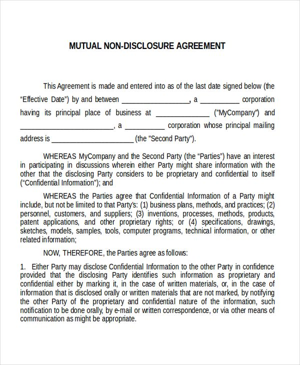 confidentiality agreement,non disclosure agreement sample Non - contract agreement between two parties