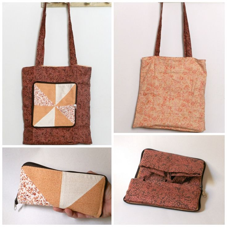 This tote bag folds and transforms into a clutch bag, closed with zipper. You can even put some items in it, like in a wallet. When opened, it becomes an outside pocket. It's reversible, so the pocket goes inside.