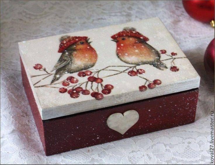 """Купить Шкатулка """"Снегири"""" - бордовый, для дома и интерьера, подарок на новый год, для украшений, хранение мелочей"""
