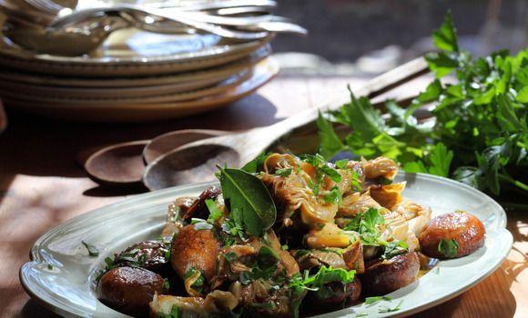 Artichokes and Mushrooms Braised in Verjuice and Extra Virgin Olive Oil - Maggie Beer