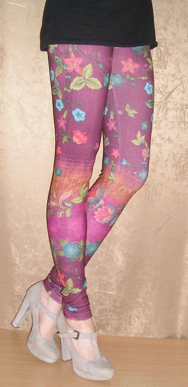 Púrpura Floral polainas / mujeres baja cintura polainas / polainas Floral, talla M