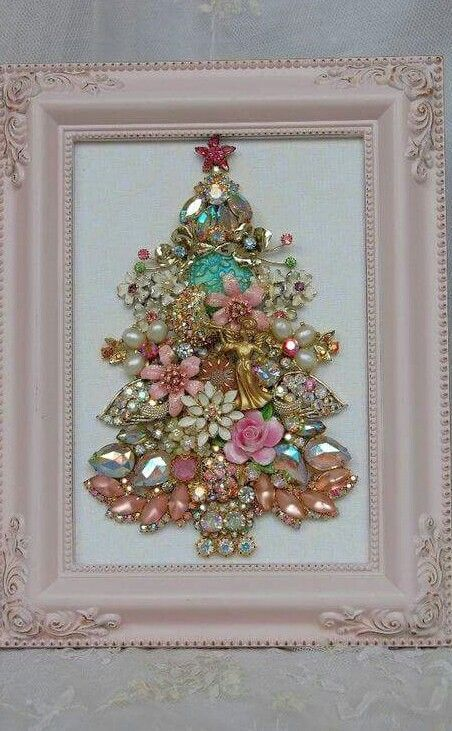 beautiful shabby chic jewelry Christmas tree in a frame
