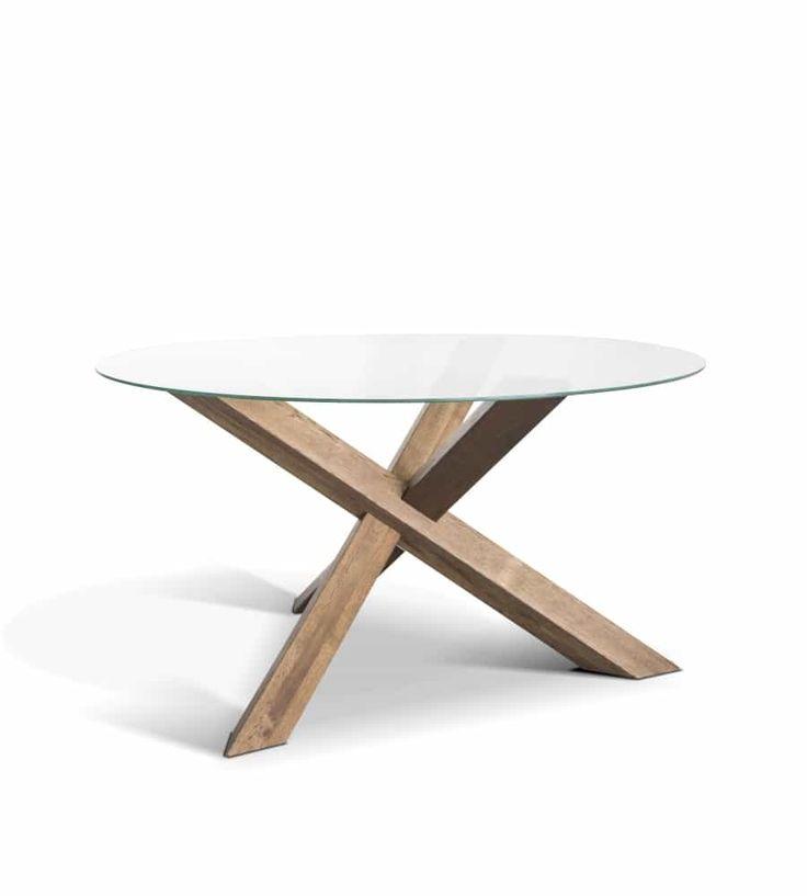 Tisch Rio Runder Esstisch Aus Holz Und Glas Wohnhirsch Runder Esstisch Esstisch Holz Esstisch
