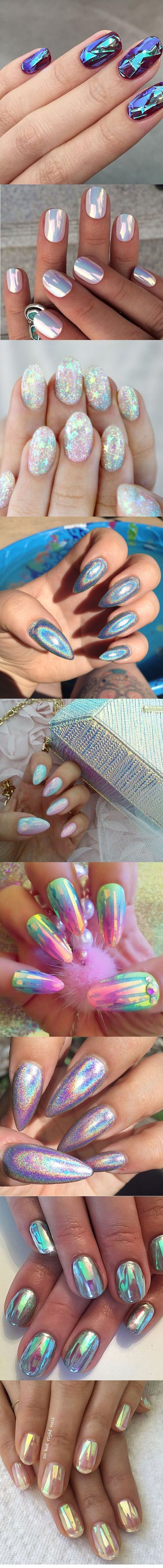 Holographic mermaid nails #manicure | ko-te.com by @evatornado |