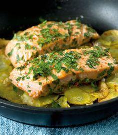 Rezept für Lachs mit Knusperkartoffeln #rezept #fisch