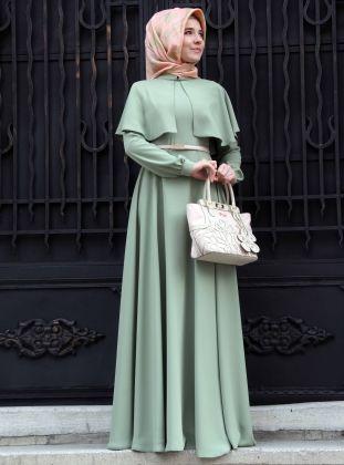 Pelerinli Elbise - Çağla - Mevra