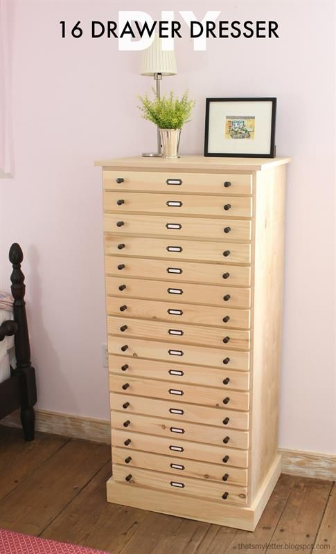 The perfect tall storage cabinet with 16 slim drawers to store all sorts of things: papers, office supplies, linens, makeup, socks and undergarments, hair supplies, and on and on. Perfect for the bedroom, office, dining room, hallway, really any room. Free plans on buildsomething.com