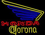Corona Honda Motorcycles Left Wing Neon Beer Sign, Corona Neon Beer Signs & Lights | Neon Beer Signs & Lights. Makes a great gift. High impact, eye catching, real glass tube neon sign. In stock. Ships in 5 days or less. Brand New Indoor Neon Sign. Neon Tube thickness is 9MM. All Neon Signs have 1 year warranty and 0% breakage guarantee.