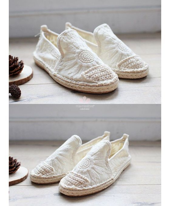 Ivory wedding espadrillas. Round toe Cotton Rubber sole Wedding shoes