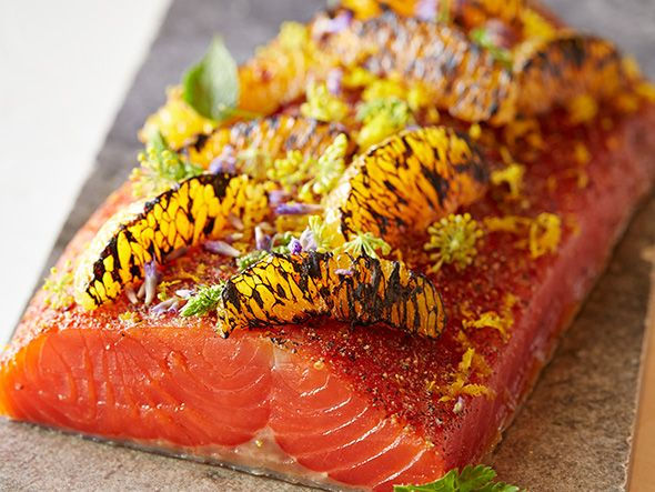 Hot smoked Ocean Wise sockeye salmon with charred orange and maple syrup | recipe by West Restaurant Executive Chef Quang Dang | Ocean Wise Cookbook 2