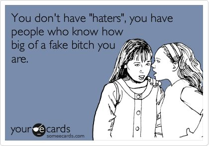You don't have 'haters', you have people who know how big of a fake bitch you are. I know a person or two this could fit!Truths Hurts, True Colors, Keep Smile, Country Girls, Mean Girls, Funny Stuff, Reality Check, Ecards, True Stories