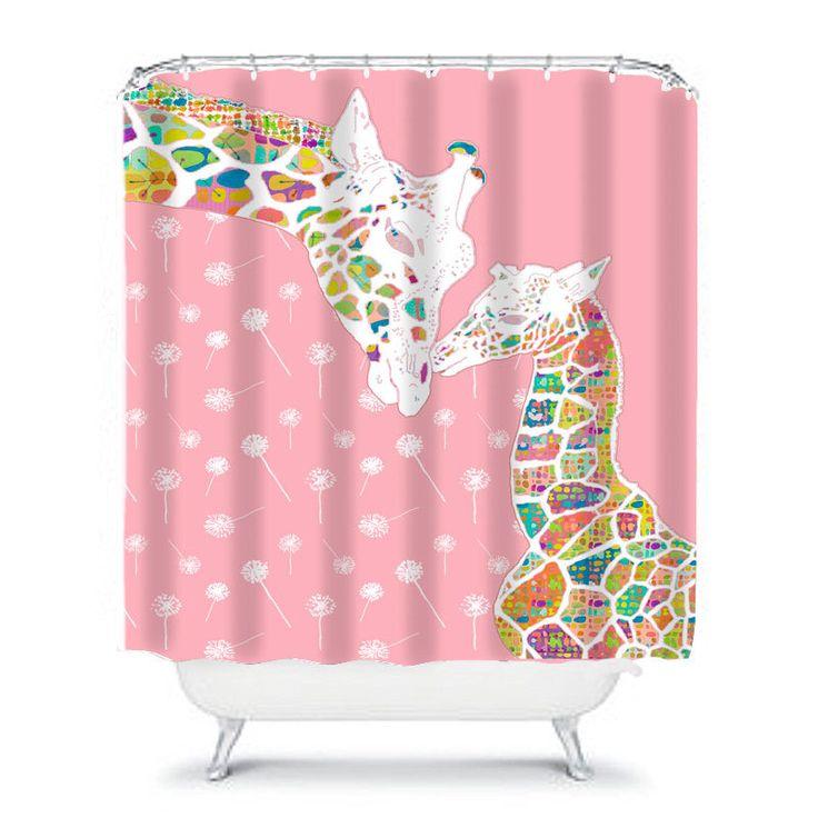 Giraffe Shower Curtain,baby Girl Shower Curtain,kids Bathroom Decor,home  Living,