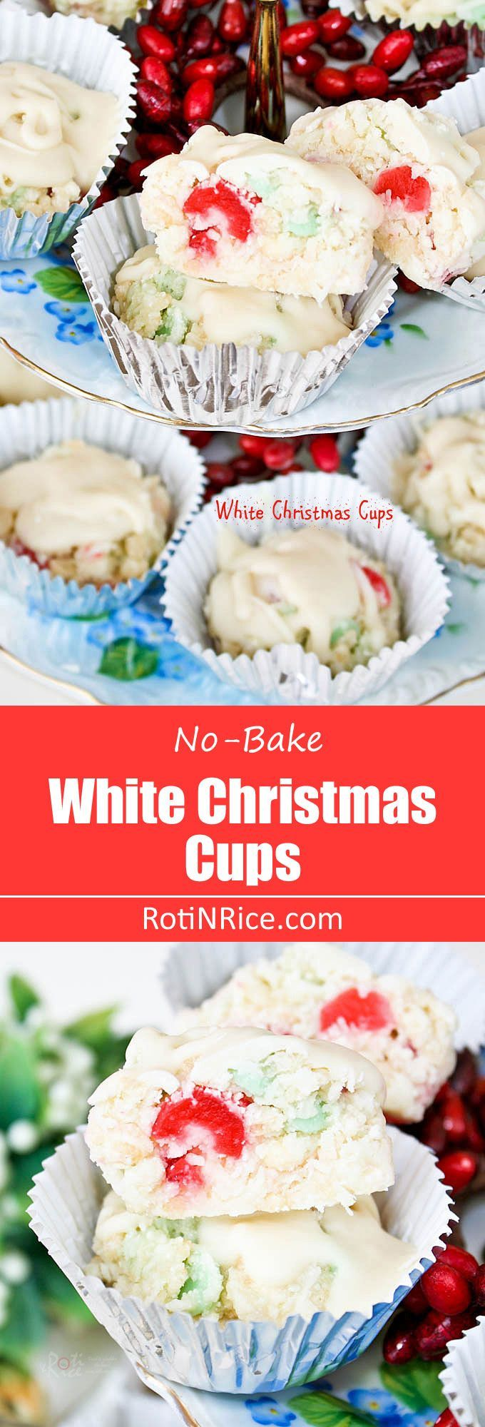 Rice krispies, coconut flakes, glazed cherries, mint chips, and chocolate combine to make these White Christmas Cups a gluten free and fun holiday treat. | http://RotiNRice.com