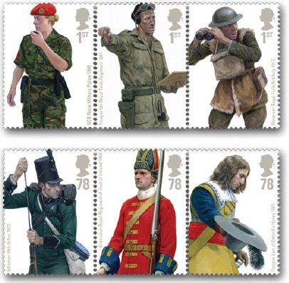 British Army Uniforms - 20 September 2007  In the first set of a series of military uniforms, Royal Mail is issuing a set of 6 stamps showing British Army Uniforms.  The stamps, in se-tenant strips of 3, feature in reverse chronological order:  1st class a military police NCO from Kosovo, a tank commander from the Second World War, and an artillery observer from World War One; 78p a rifleman from the Peninsula War, a grenadier from the battle of Blenheim and a trooper from the Earl of…