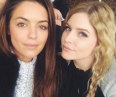 Olympia Valance and Jenna Rosenow take a selfie on the neighbours set