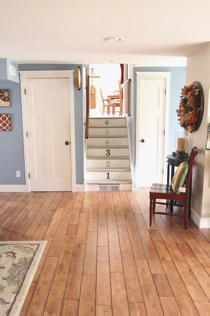 The Modern Family entry paint color! Benjamin Moore Labrador Blue from Golden Boys and Me