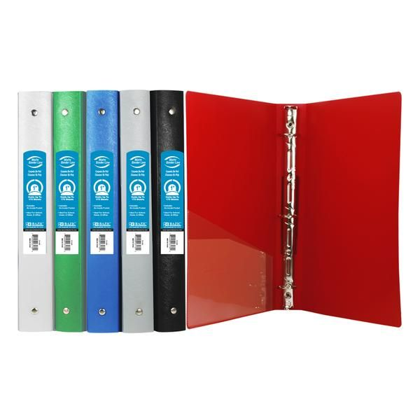 Bazic 1 Matte Color Poly 3 Ring Binders With Pockets Assorted Colors Of These Wholesale Bulk Discount Cheap 3 In 2020 Binder School Binder 3 Ring Binders