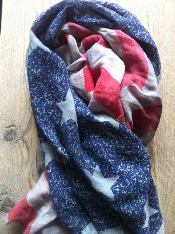 Sjaal, vintage Amerikaanse vlag. www.hartenensterren.nl