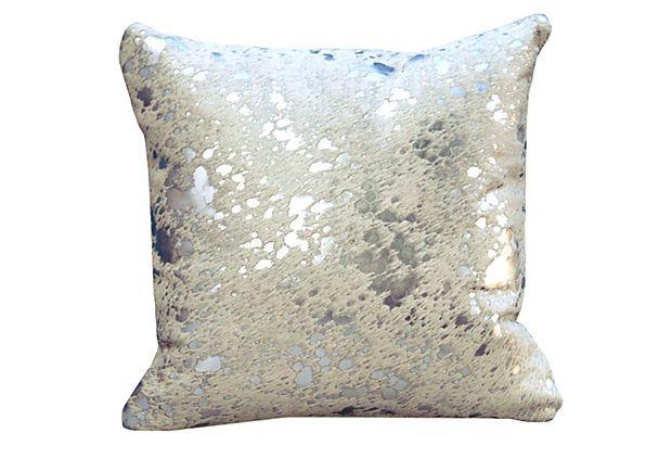 Cowhide 20x20 Pillow, White/Silver On OneKingsLane.com