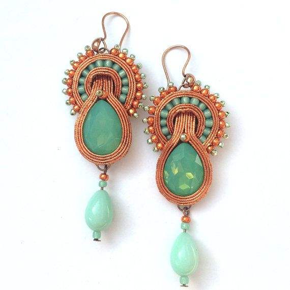 Soutache earrings Mint Summer copper and mint summer by Lolissa