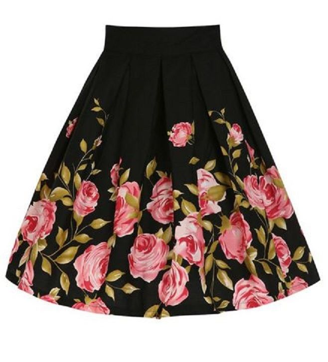 Women's Retro Style Pink and Black Floral Print Pleated Skirt #Retro #Style #Vintage #Floral #Print #Flare #Skirt #Fashion