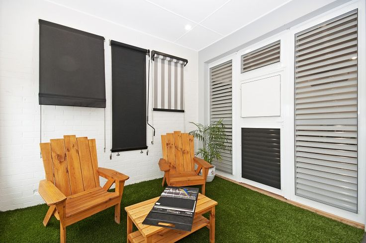 The Blinds For You outdoor area. This area shows the wide variety of outdoor blinds we have on offer