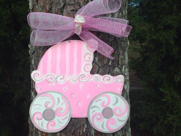 Baby carriage door hanger,Polk a dot pink baby hospital door hanger,it's a girl wreath,Personalized Baby,hospital wreath,baby shower by Furnitureflipalabama on Etsy https://www.etsy.com/listing/208360530/baby-carriage-door-hangerpolk-a-dot-pink