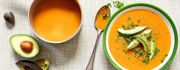 Carrot Soup with raw ginger and avocado