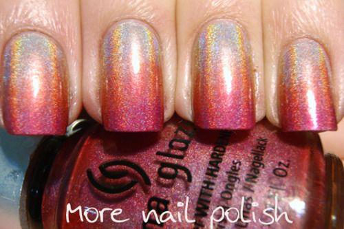 .Holographic Gradient, Pink Gradient, Nails Design, Pink Holo, Holo Gradient Mom, Hair Nails Makeup, Gradient Nails, Nails Beautiful, Nails Polish