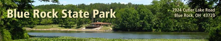 Blue Rock State Park - Ohio =  campground, picnic, volleyball, basketball, horseshoes, playground, group camp, camp store, 3 rent-a-camps, cabins, boating, fishing, trails, shelterhouses, swim beach, ice skating, sledding, ice fishing
