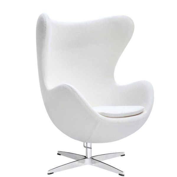 This wonderful chair features a molded fiber glass frame, fire retardant polyurethane foam padding, and covered with 100% wool fabric. Color may differ slightly from image shown.