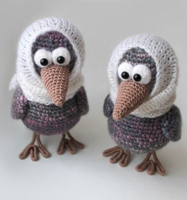 Granny crow - funny amigurumi bird  (free crochet pattern) // Varjú anyó  - kendős horgolt madárka (amigurumi minta) // Mindy - craft tutorial collection