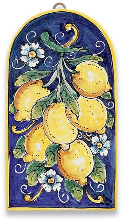 Ceramic Tile Lemons Majolica - Ceramic Tiles - Italian Pottery Handcrafted in Italy, a true Majorica and made of European Red Clay and hand painted freestyle in lead-free glazes that are food safe. It