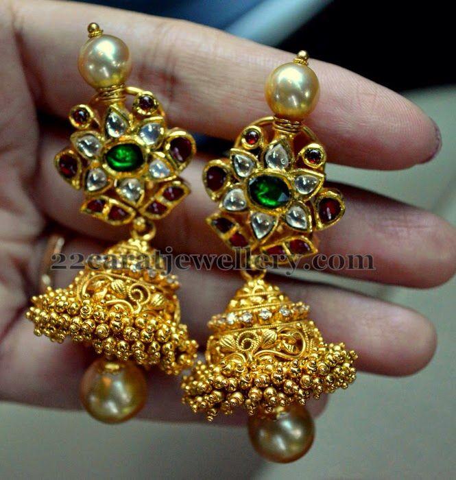 South Indian diamond and kundan jhumkas
