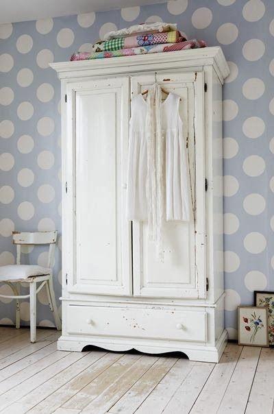 Old vintage wardrobe..vintage quilts..vintage clothing ...Finding Neverland ;)