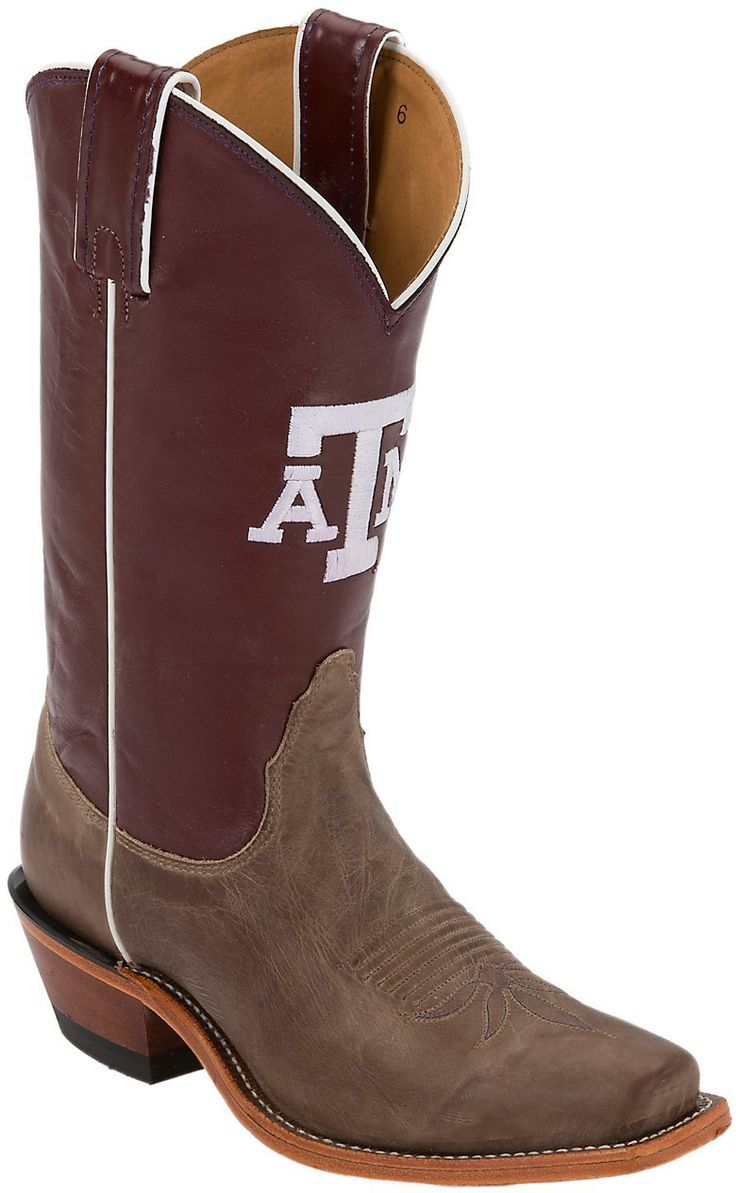 Nocona® Women's Texas A University Vintage Brown w/ Logo on Maroon Top  Single Welt Square Toe Western Boots