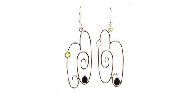 Order it here http://goo.gl/SOiKYN Klip earrings - Handmade Silver Earrings Material: Sterling silver 925, Onyx, Peridot, Amethyst, Citrine stones Dimension:Length: 6.0 cm ; width: 2.0 cm Weight:8 gram Price:$ 47.00 In Stock : 10 pairs