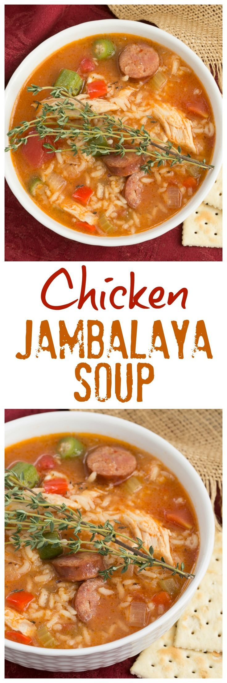 ChickenJambalaya Soup | Packed with terrific flavor from chicken, andouille sausage, rice and more! @lizzydo