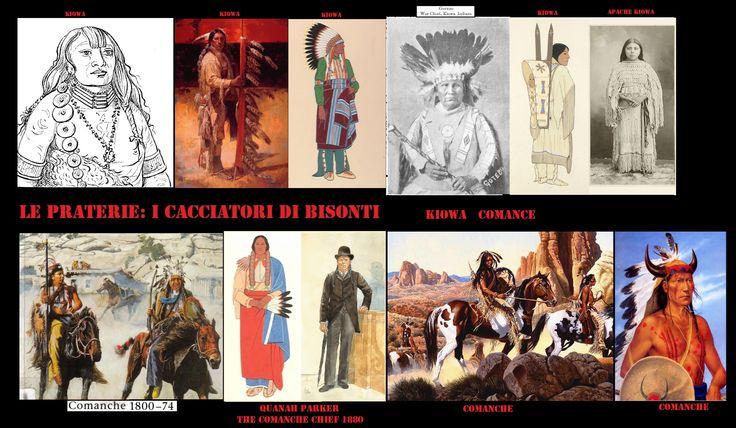 I Kiowa (Ka'igwu, Cáuigù, Gaigwu, lingua Kiowa-Tanoan) i Kiowa Apache (Naishan Dene di lingua na-dene) e i comanche (NUMUNU, lingua uto-aztechi) caccia raccoglitori  originari delle praterie settentrionali, dal 18° sec. furono spinti da Sioux e Cheyenne verso sud (Colorado, Oklahoma, Kansas, Texas) dove trovarono un clima più adatto all'allevamento dei cavalli che ormai avevano acquisito.