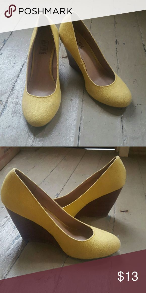 Yellow wedges Cute yellow wedges with wooden heel! mix no6 Shoes Wedges