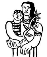 Coloring page Fernand Léger: Mother and child