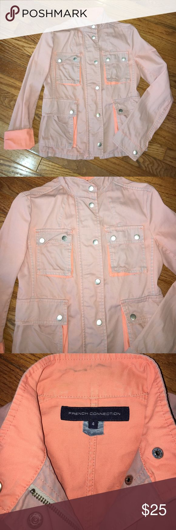 "French connection pink utility jacket Dusty rose utility jacket with pops of salmon behind the pockets and when the sleeves are rolled up. . 17.5"" laying flat from armpit to armpit. Collar can be worn popped up or folded down flat. Slight discoloration at the neck (pictured). Coat zipped up and has added snap buttons. Great piece to take into spring/summer. French Connection Jackets & Coats Utility Jackets"