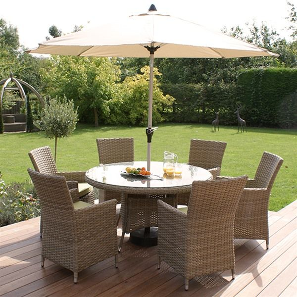 Maze Rattan Natural Milan 6 Seat Highback Round Garden Furniture Set