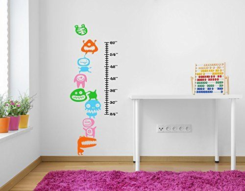 Funky Wobbling Funny Monsters Height & Growth Chart. Vibrant Wall Decal (Height 60inches/152 cm)
