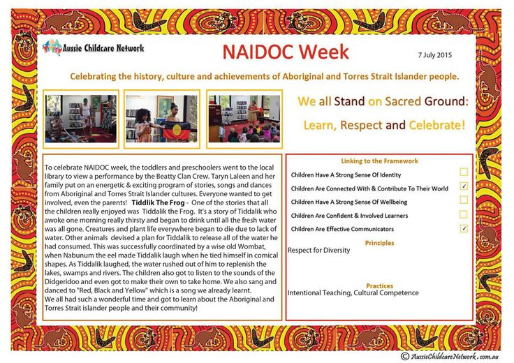 A NAIDOC template that can be used to create a Learning Story of the experiences and events that occurred during NAIDOC week. NAIDOC week (first week...