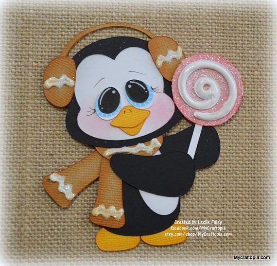 Pan de jengibre Penguin Navidad Premade Scrapbooking adorno