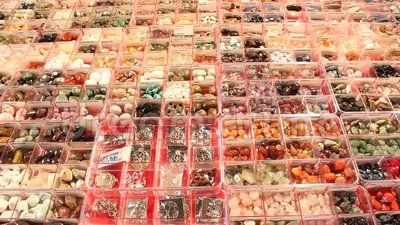 Gemstones of different colors and shape for sale.